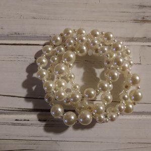 Vintage Faux Pearl Multi Strand Bracelet